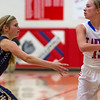 Teutopolis' Morgan Mette, left, guards St. Anthony's Abby Weis. Mette was pivotal in getting the Lady Shoes' defense refocused in the second half, where they pulled away for a 41-31 win.