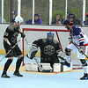 Americans Alberto Flore attempts to redirect the ball on goalie Matty Gilchrest