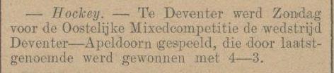 19141213 Opmerking: onduidelijk DHV of DMHC. Wedstrijd was dus op zondag 13 december 1914   Apeldoornsche Courant woensdag 16 december 1914