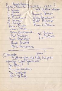 Blaadje gevonden in album  ws. door Frits Drijver gemaakt n.a.v. opening clubhuis 1962 Frits Drijver hield toen toespraak  Frits was toen mogelijk al dementerend schrijft namen meerdere keren op Betrouwbaarheid mogelijk niet groot  Opvalllend dat Henk Vervoort ook DMHC Mijn oom Miel Burlage ook genoemd   CollectieBakkerSchutlossefoto Fotograaf: nvt Formaat:19 x 13