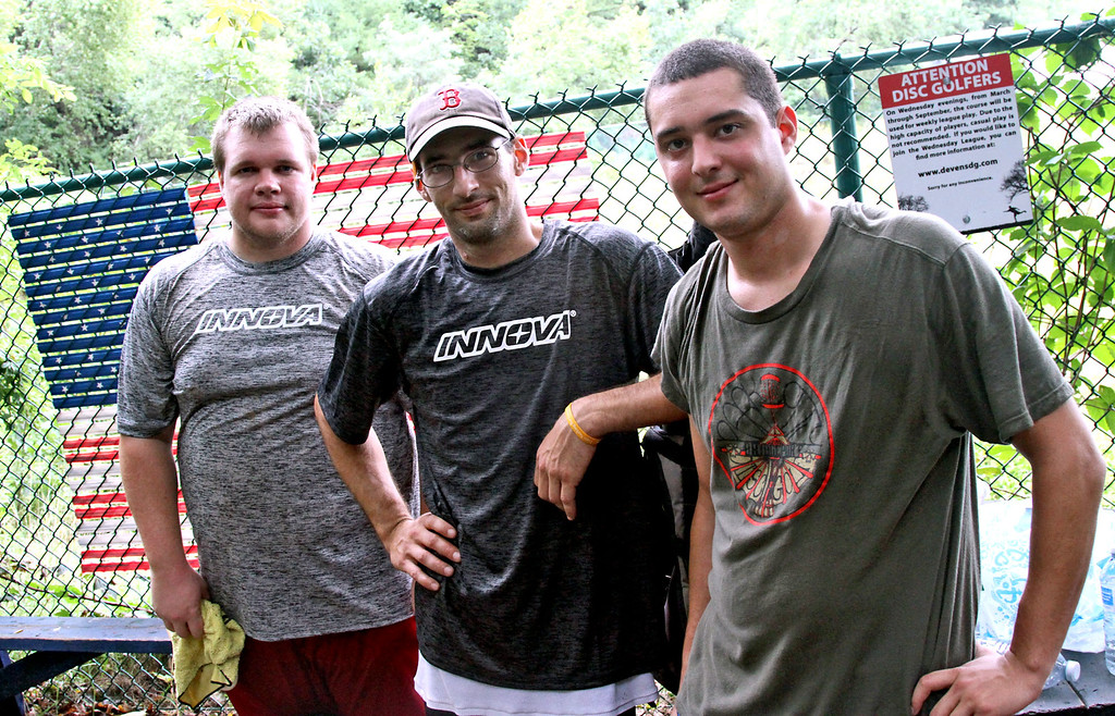 . Disc Golf team from Connecticut taking a break before moving on to the next course, L-R, Chris Spear,26, Paul Adorno,36 and Tyler Blanchet,24. SUN/David H. Brow