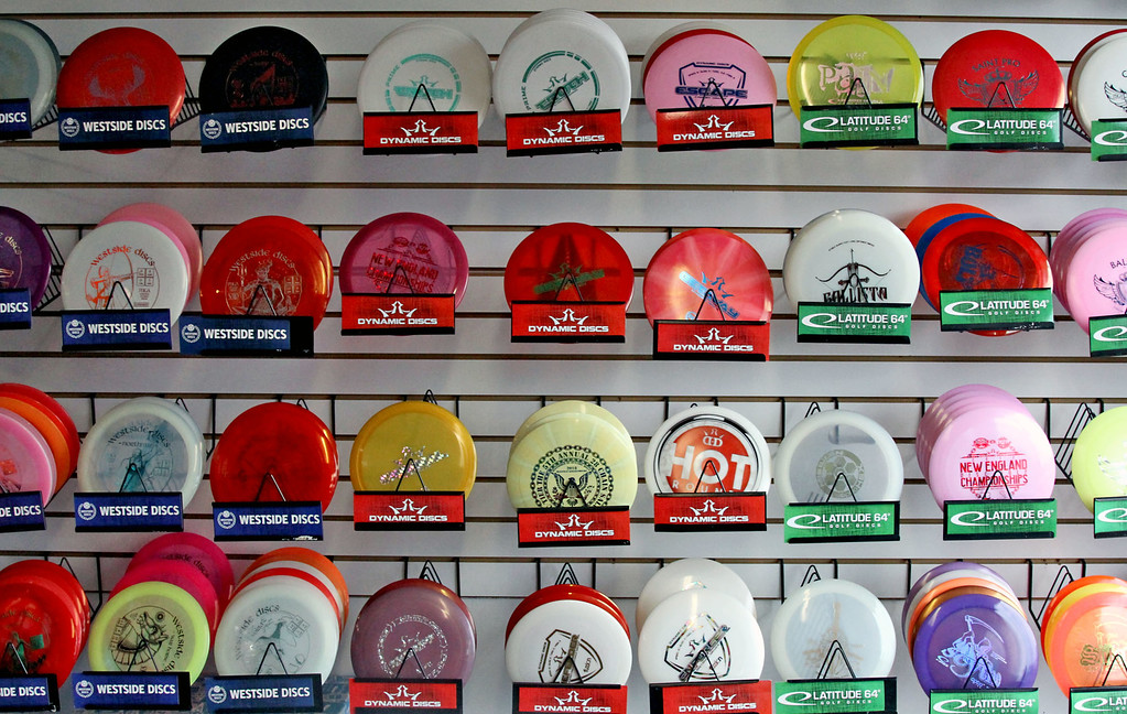 . Shown here is an assortment of Golf Disc\'s at the Hawks Nest store in Ayer, the Ayer store has a Disc Golf course right in back of the store and on parts of Devens. SUN/David H. Brow