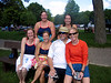 Blessed is Dave among women.  The swimmers and kayakers:  Sarah Cramer, Aimee Wozniak, Julie Hall, Dave Gorski, Melodee Nugent and Mary Gorski.
