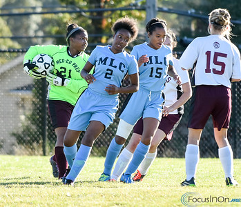 101216  Wesley Bunnell | Staff  Med Ed Prep Girls Soccer hosted MLC on Wednesday afternoon. Goalkeeper Lianna Giles #21 with a save.