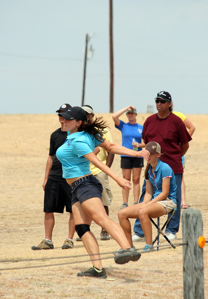 Val Jenkins makes her throw on hole 6 during the 2011 US Womens Disc Golf Championship in Round Rock, TX.