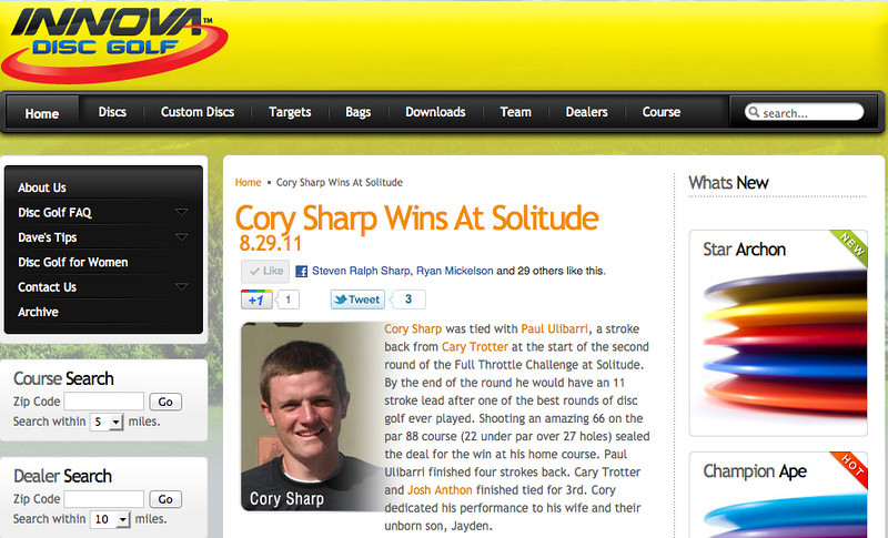 This is the write-up that Innova Disc Golf published on their website after Cory's win. They did get a few facts wrong, though. Par on the 27-hole course was 81, so Cory's hot round was 15 under par, which was a new course record, beating the old course record by 4 strokes. Congratulations, Cory!