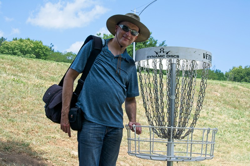A photo of Papa Steve, taken by Kyson. Shawnee Mission Disc Golf Course
