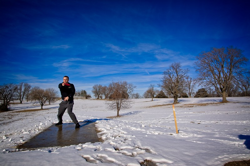 Disc golf with Cory at Lakeside Disc Golf course in Lake Olathe Park. Olathe, Kansas