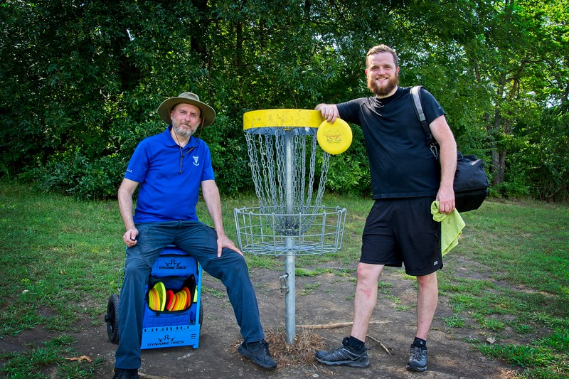 Steven and Cory after a round of Disc Golf at Lakeside Hills Disc Golf Course, Olathe, KS