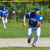 Lunenburg shortstop Dawson Stacy charges a ground ball during Thursday's win. Nashoba Valley Voice/Ed Niser