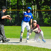 Ayer Shirley's Will Doyle and Lunenburg's Tristen Deschenes look to the umpire after Deschenes was ruled out while stealing. Nashoba Valley Voice/Ed Niser