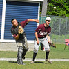 Ayer Shirley catcher Elric Cahill throws as pitcher Devin Sawyer looks on. Nashoba Valley Voice/Ed Niser