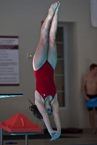 Becky Hunold, a diver from Bishop Hartley High School, competes in a meet at the New Albany High School Natatorium Saturday morning December 12, 2009. (Photo by James D. DeCamp 614-462-8027)