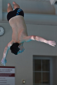 A diver competes in a meet at the New Albany High School Natatorium Saturday morning December 12, 2009. (Photo by James D. DeCamp 614-462-8027)