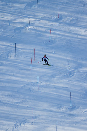 Record-Eagle/Brett A. Sommers Onekama's Joe Buswinka skis the slalom course during Monday's MHSAA Division 2 ski finals.
