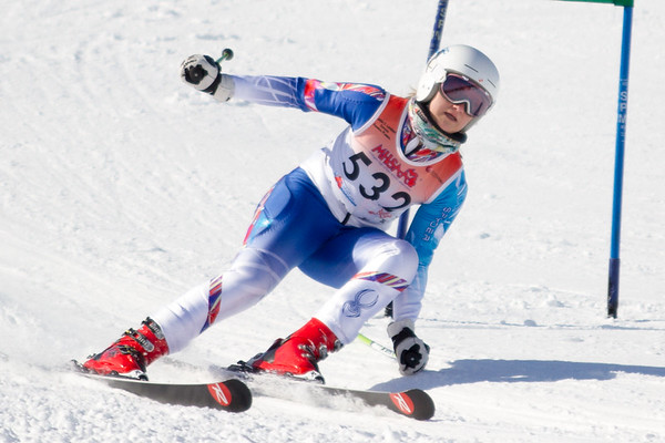 Record-Eagle/Brett A. Sommers Cadillac's Libby Lloyd skis the giant slalom course during Monday's MHSAA Division 2 ski finals.
