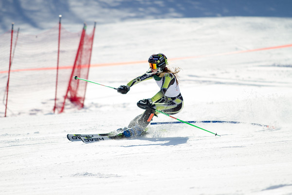 Record-Eagle/Brett A. Sommers A forerunner skis the slalom course prior to Monday's MHSAA Division 2 boys races.