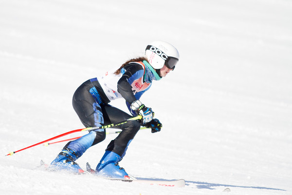 Record-Eagle/Brett A. Sommers Great North Alpine's Claire Kalajian skis the giant slalom course during Monday's MHSAA Division 2 ski finals.