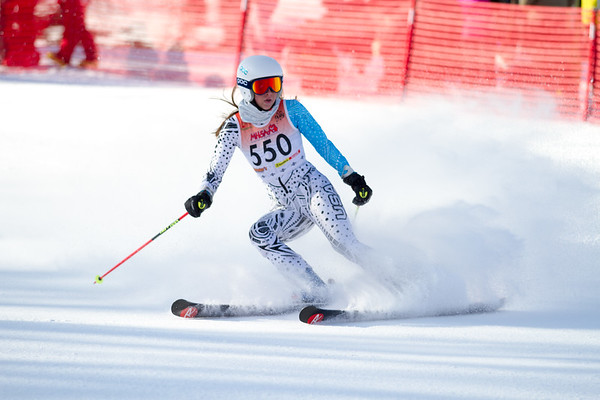 Record-Eagle/Brett A. Sommers Mattawan's Shayanne Glas finishes her giant slalom run during Monday's MHSAA Division 2 ski finals.