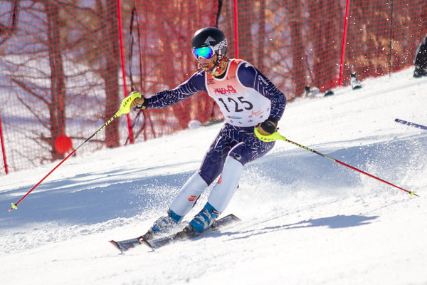 Record-Eagle/Brett A. Sommers Charlevoix's Brad Klinger skis the slalom course during Monday's MHSAA Division 2 ski finals.