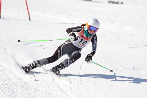 Record-Eagle/Brett A. Sommers Great North Alpine's Clare Klein tackles the giant slalom course during Monday's MHSAA Division 2 ski finals.
