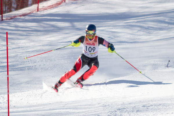 Record-Eagle/Brett A. Sommers Great North Alpine's Christian Stelling skis the slalom course during Monday's MHSAA Division 2 ski finals.