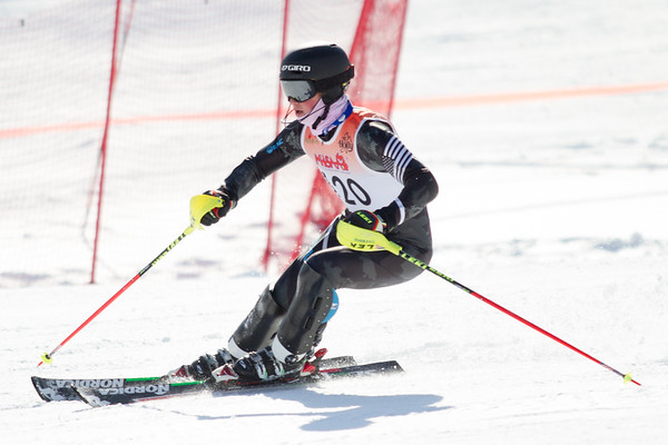 Record-Eagle/Brett A. Sommers Great North Alpine's Finn Husband skis the slalom course during Monday's MHSAA Division 2 ski finals.