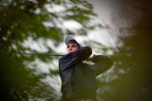 Record-Eagle/Jan-Michael Stump<br /> Harbor Springs' Tyler Parkin tees off.