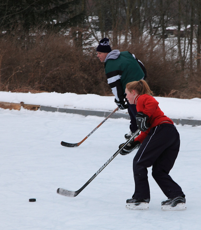 Jill and Gary moving the puck up ice