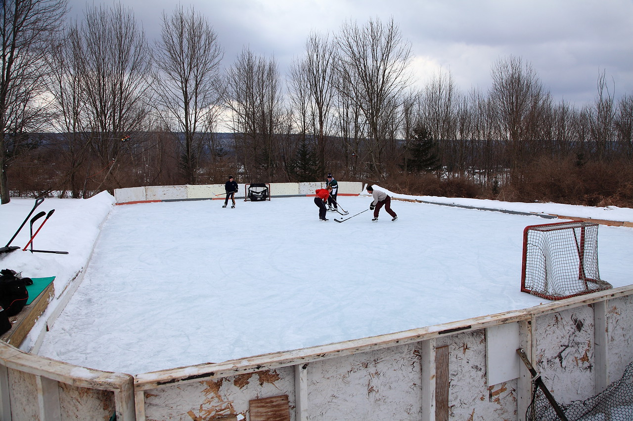 The rink we build each year at Tim's house