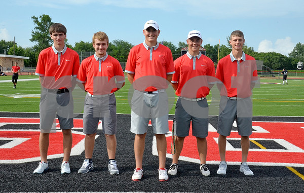 -Messenger photo by Britt Kudla<br /> Fort Dodge Golf Returning Letterwinner are left to right: Zach Colin, Kaden Peterson, Thomas Hurtley, Tomas Lang and Drew Hansen