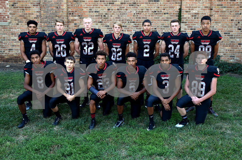 -Messenger photo by Britt Kudla<br /> Fort Dodge Dodgers defensive backs are, left to right, Front Row: Brycen Bell, Dru Odendahl, Damond Lockner, Trey Mosley, Brayden Bell, Tyler Meriweather<br /> Back Row: Kaleb Jondle, Anthony Wagner, Bowyn Hennings, Trey Kasperbauer, Jayzon Potralz, Bryer Nelson, Jeremiah Hughes