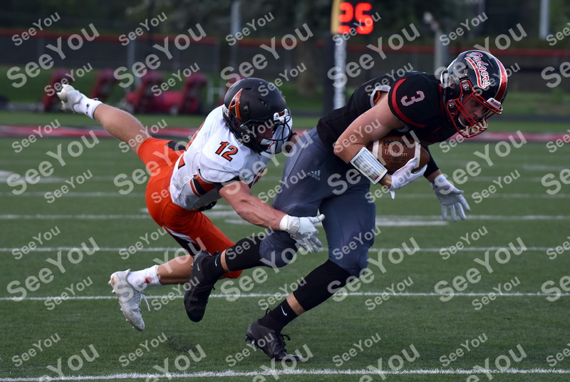 -Messenger photo by Britt Kudla<br /> Russell Potratz of Fort Dodge gain a few yards after the catch against Ames on Friday