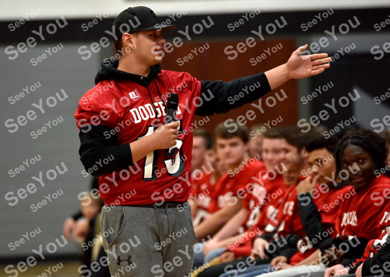 -Messenger photo by Britt Kudla<br /> Drake Miller of Fort Dodge thanks Dodgers coaches and fans for showing their support during a prep rally on Thursday inside Dodger Stadium