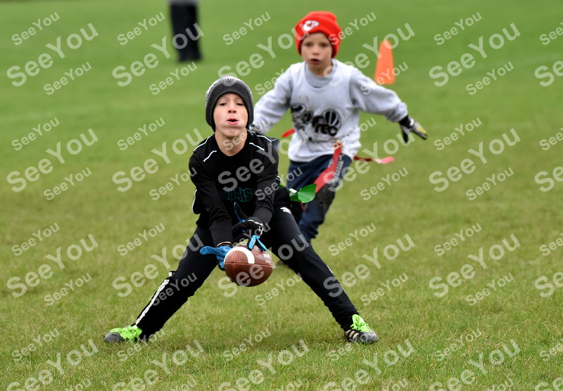 -Messenger photo by Britt Kudla<br /> Chris Andrew of Southeast Valley (8U) attempts an interception against Fort Dodge on Saturday at Fort Frenzy
