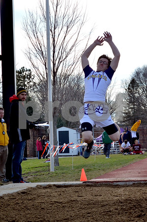 messenger photo by Britt Kudla<br /> eagle grove competes in the long jump monday night