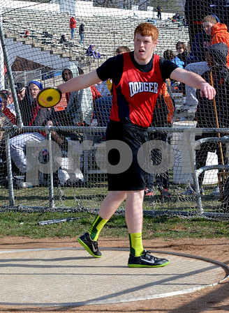 - messenger photo by Britt Kudla<br /> Connor Hubbard of Fort Dodge competes in the discus throwing event during the Dodger Relays on Monday at Dodger stadium.