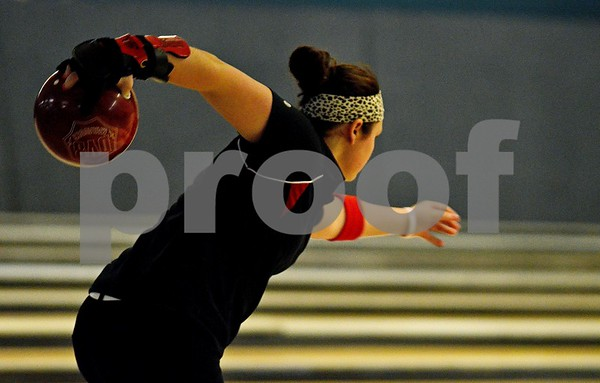 -Messenger photo by Britt Kudla<br /> Ciara Sturm of Fort Dodge bowled against Johnston on Monday at Ridgewood Lanes