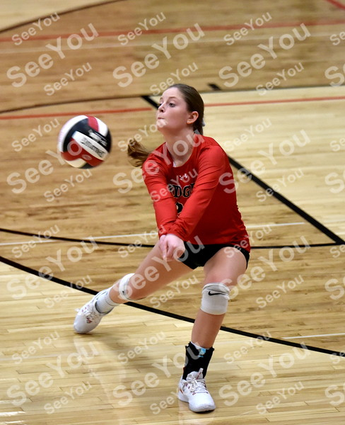 -Messenger photo by Britt Kudla<br /> Molly Hartman of Fort Dodge passes against Ridge View during Dodgers Invitational on Saturday