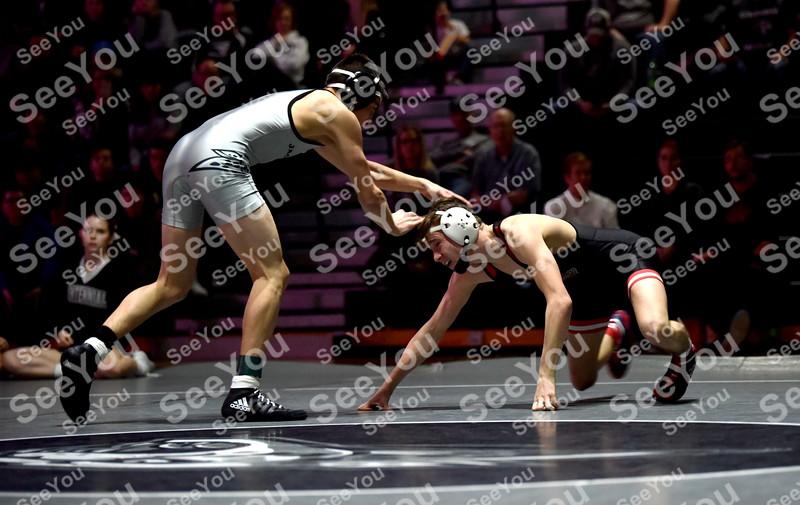 -Messenger photo by Britt Kudla<br /> Brooks Cowell of Fort Dodge wrestles against Ankeny Centennial Joey Mayer on Thursday
