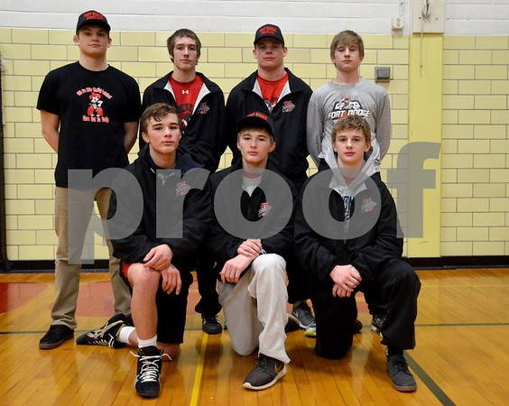 -Messenger photo by Britt Kudla<br /> Fort Dodge Wrestling State Qualifier are front row, left to right: Cayd Lara, Triston Lara and Brody Treske<br /> Back Row: Jocab Egli, Erik Bimbaum, Sam Cook and Keenan Cook