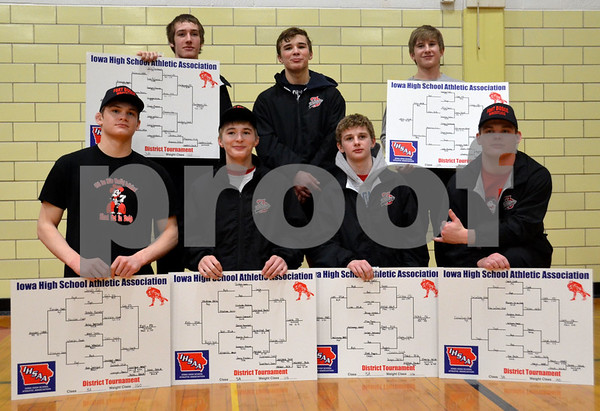 -Messenger photo by Britt Kudla<br /> Fort Dodge Wrestling State Qualifier are front row, left to right: Jocab Egli, Triston Lara, Brody Treske, and Sam Cook<br /> Back Row: Erik Bimbaum, Cayd Lara, and Keenan Cook
