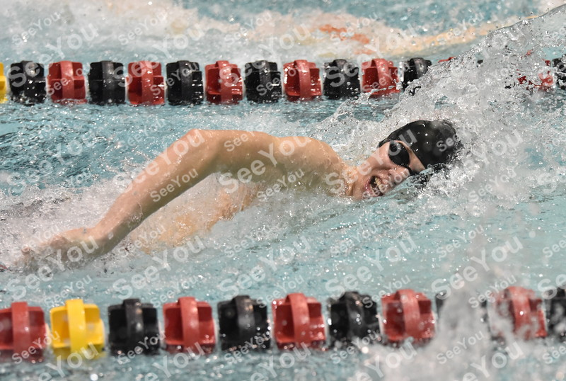 -Messenger photo by Britt Kudla<br /> Ben Lennon of Fort Dodge compete during 100 yard Freestyle against West Des Moines Valley on Thursday