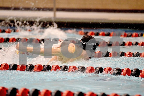 -Messenger photo by Britt Kudla<br /> Fort Dodge's Josh Lee competes during the 50 yard freestyle on Thursday at Fort Dodge High School