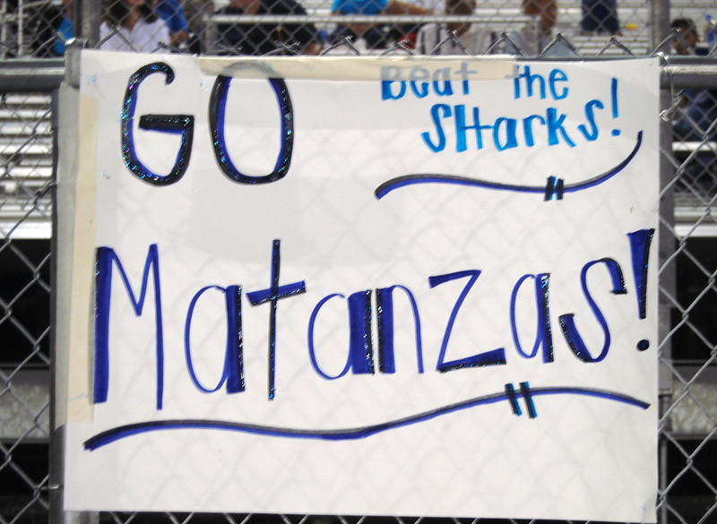 001 Go Mantanzas Beat Sharks Homecoming Sign