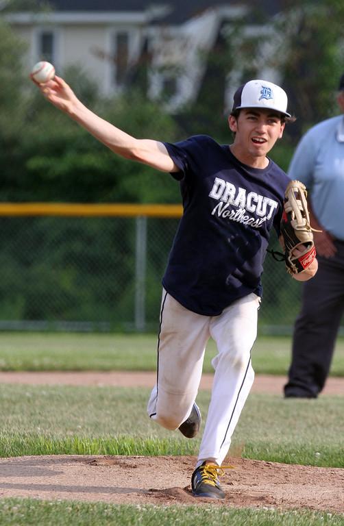 . Dracut vs Lowell Northeast Summer Baseball. Dracut starting pitcher Pat O\'Toole (7). (SUN/Julia Malakie)