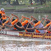 CAGAYAN DE ORO. Water splashes off the boat as paddlers in training give out their best during the rigid week-long training at the Cagayan de Oro river. (Erwin M. Mascariñas)