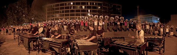Hawthorne Cabelleros play for the Golden Eagles Mini Corps lined up along the Genesee river just in front of them.  Friday night.
