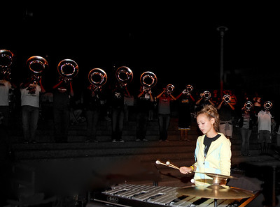 Pit / Vibaphone player on Friday night from Cabs.  Horns outlined behind her.