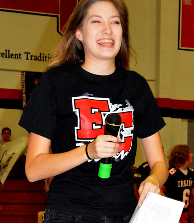 Debbie Blank | The Herald-Tribune<br /> Student body President Bryssa Helton said she helped plan the rally and partnered with student section leaders Peyton Yocum and Grace Burress and the cheerleaders.